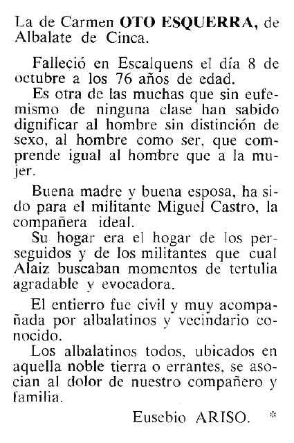 """Necrològia de Carmen Oto Esquerra publicada en el periòdic tolosà """"Cenit"""" del 21 de febrer de 1984"""
