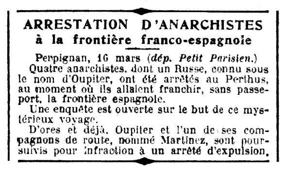 """Notícia de la detenció de Morthel Oupiter apareguda en el diari parsienc """"Le Petit Parisien"""" del 17 de març de 1924"""