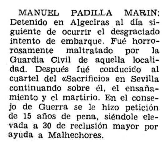 "Notícia de la detenció de Manuel Padilla Marín apareguda en el periòdic ""España Libre"" del 21 de setembre de 1952"