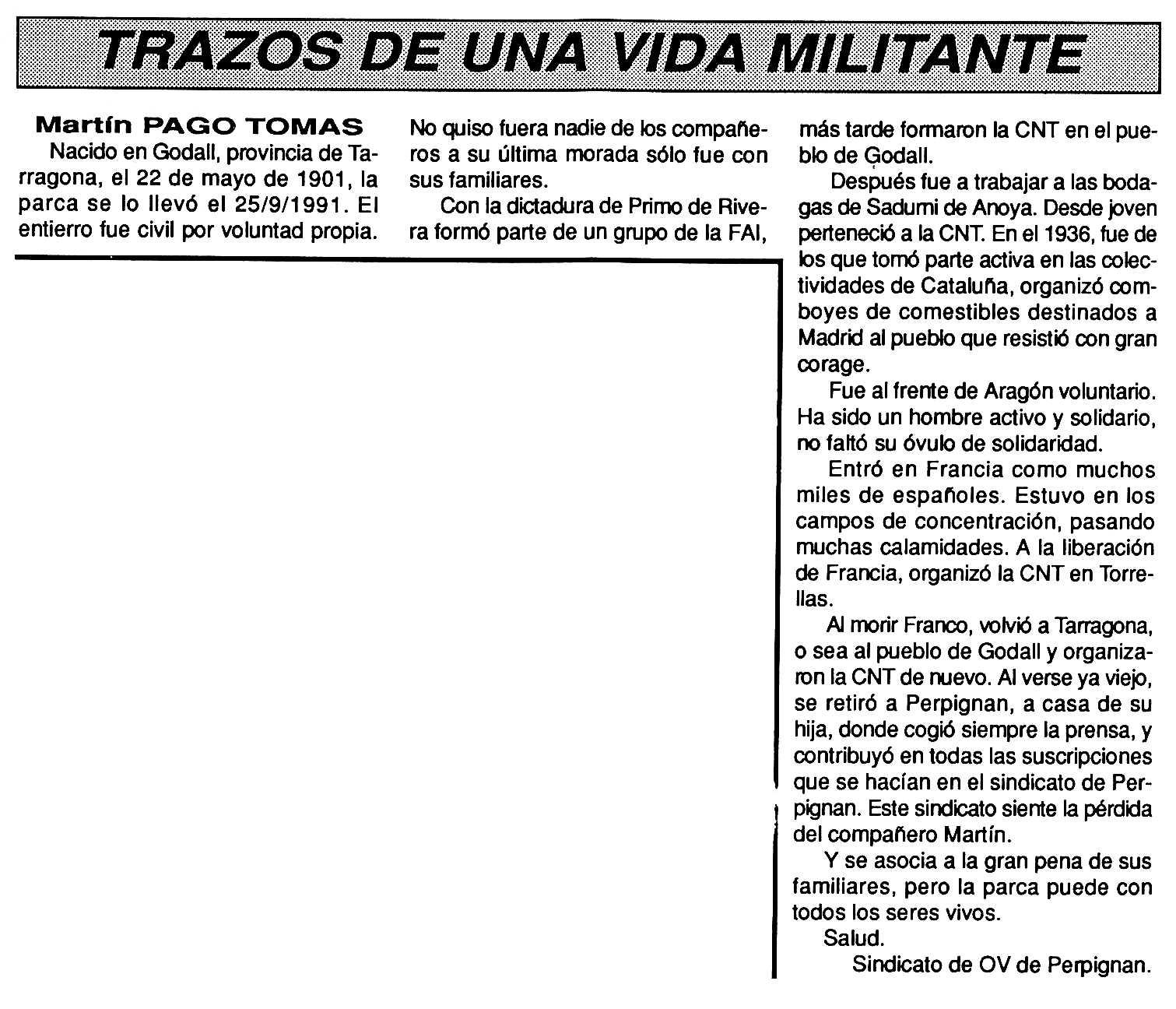 "Necrològica de Martí Pago Tomàs apareguda en el periòdic tolosà ""Cenit"" del 29 d'octubre de 1991"