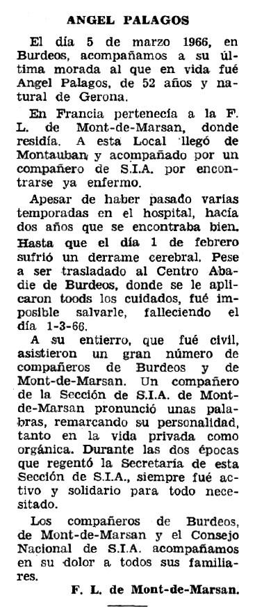 """Necrològica d'Àngel Palagos Pujol apareguda en el periòdic tolosà """"Espoir"""" del 16 d'octubre de 1966"""