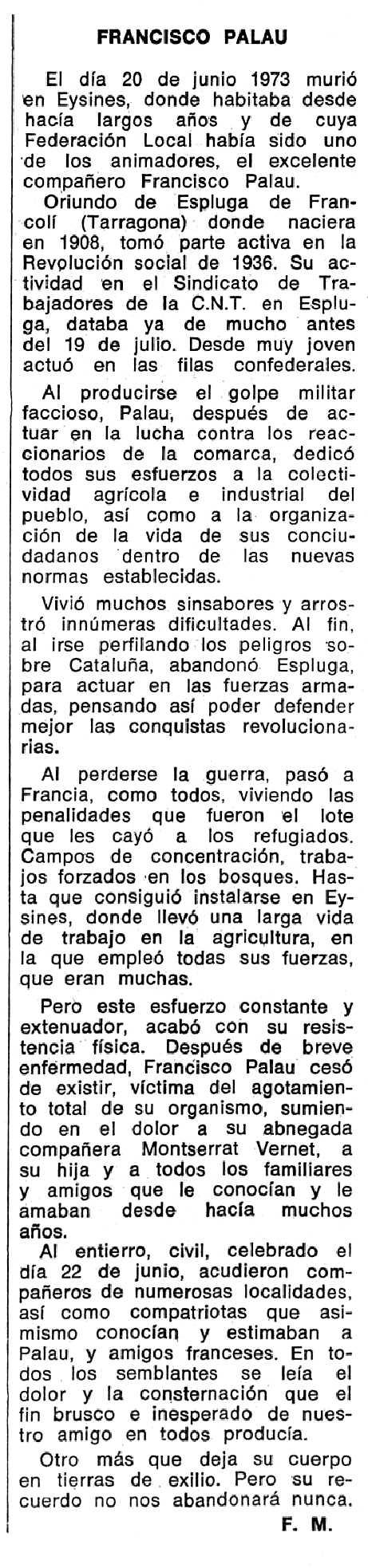 """Notícia necrològica de Francesc Palau Ramona apareguda en el periòdic tolosà """"Espoir"""" de l'11 de novembre de 1973"""