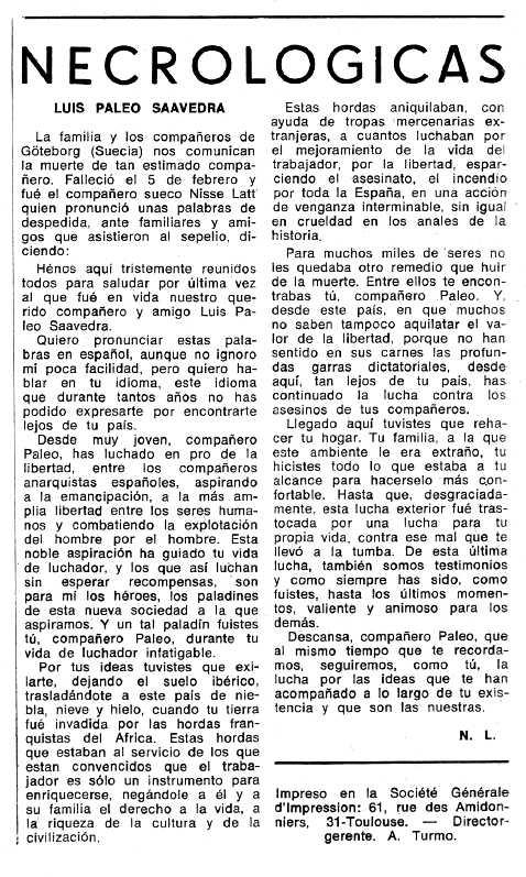 """Necrològica de Luis Paleo Saavedra apareguda en el periòdic tolosà """"Espoir"""" del 28 d'abril de 1974"""