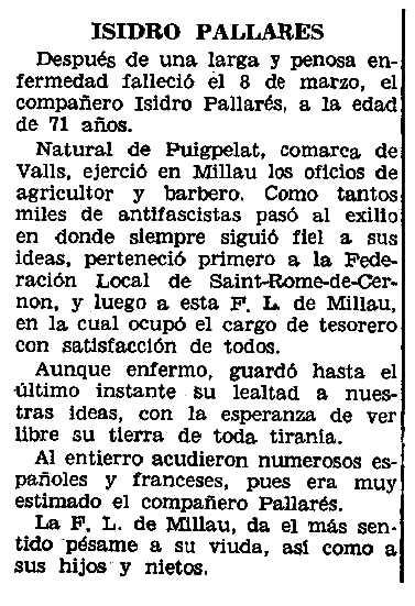 """Necrològica d'Iside Pallarès Mestre apareguda en el periòdic parisenc """"Le Combat Syndicaliste"""" del 28 d'abril de 1966"""
