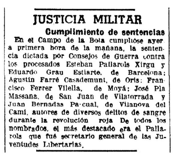 """Notícia de l'execució d'Esteve Pallarols Xirgu i altres companys apareguda en """"La Vanguardia"""" (9 de juliol de 1943)"""