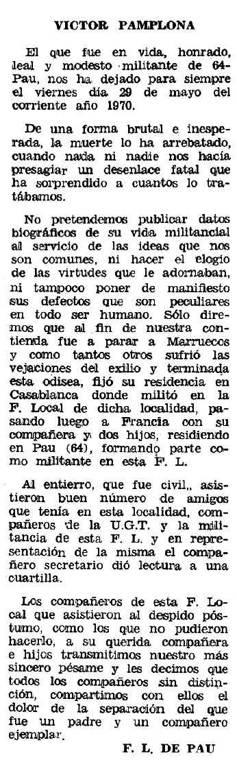 """Necrològica de Víctor Pamplona Rodríguez apareguda en el periòdic tolosà """"Espoir"""" de l'11 d'octubre de 1970"""