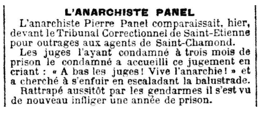 "Notícia d'una condemna de Pierre Panel apareguda en el diari ""Le Petit Parisien"" del 6 de maig de 1893"