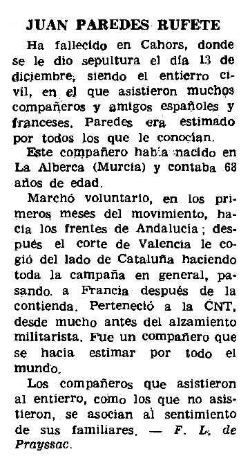 """Necrològica de Juan Paredes Rufete apareguda en el periòdic parisenc """"Le Combat Syndicaliste"""" del 8 de gener de 1970"""
