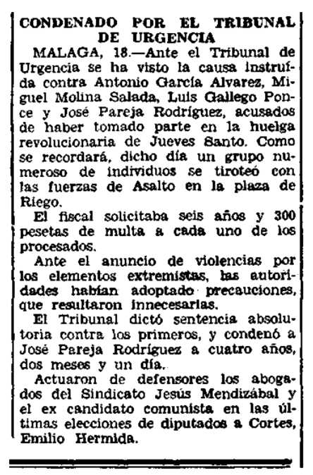 """Notícia de la condemna de José Pareja Rodríguez apareguda en el diari madrileny """"El Siglo Futuro"""" del 19 de maig de 1934"""
