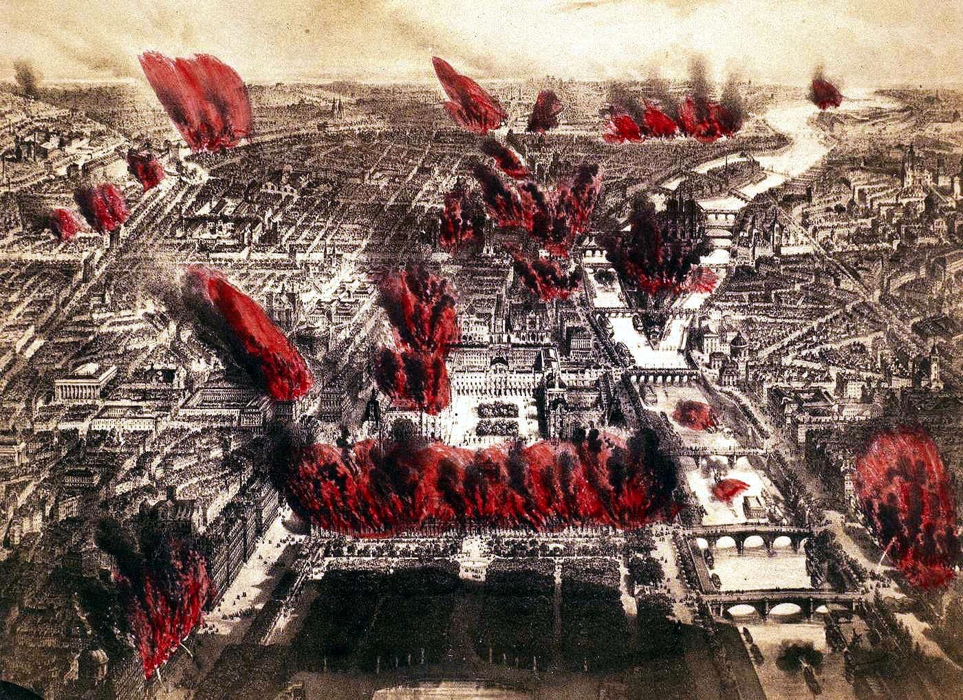 París incendiat durant la Setmana Sagnant segons un gravat de l'època