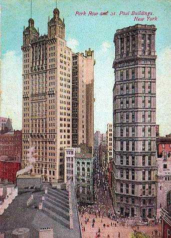 El Park Row Building, al izquierda, desde ahí fue lanzado Salsedo
