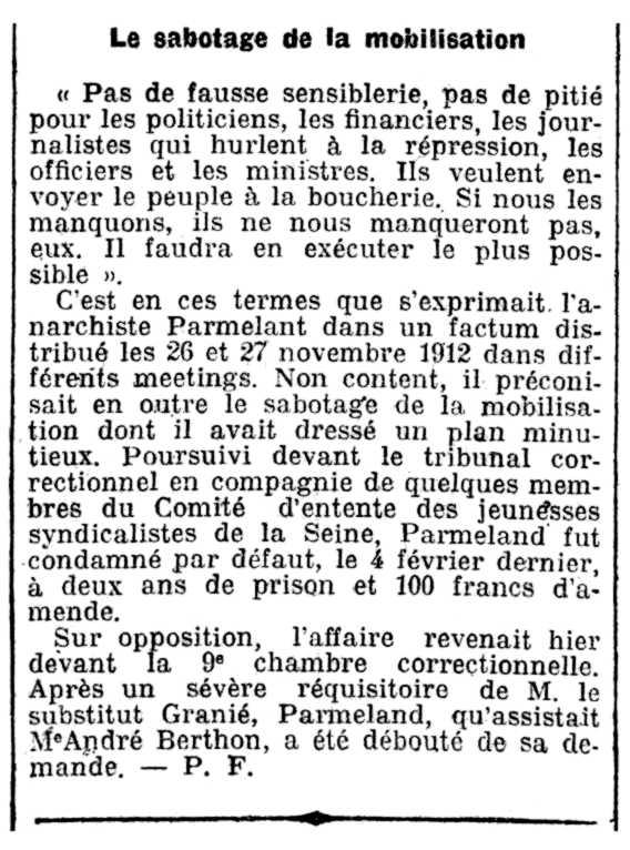 """Notícia del processament de François Parmeland apareguda en el periòdic parisenc """"L'Homme Libre"""" del 3 de desembre de 1913"""