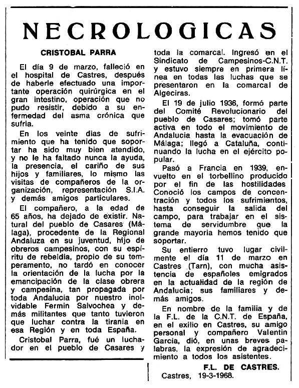 """Necrològica de Cristóbal Parra Cerón apareguda en el periòdic tolosà """"Espoir"""" del 19 de maig de 1968"""