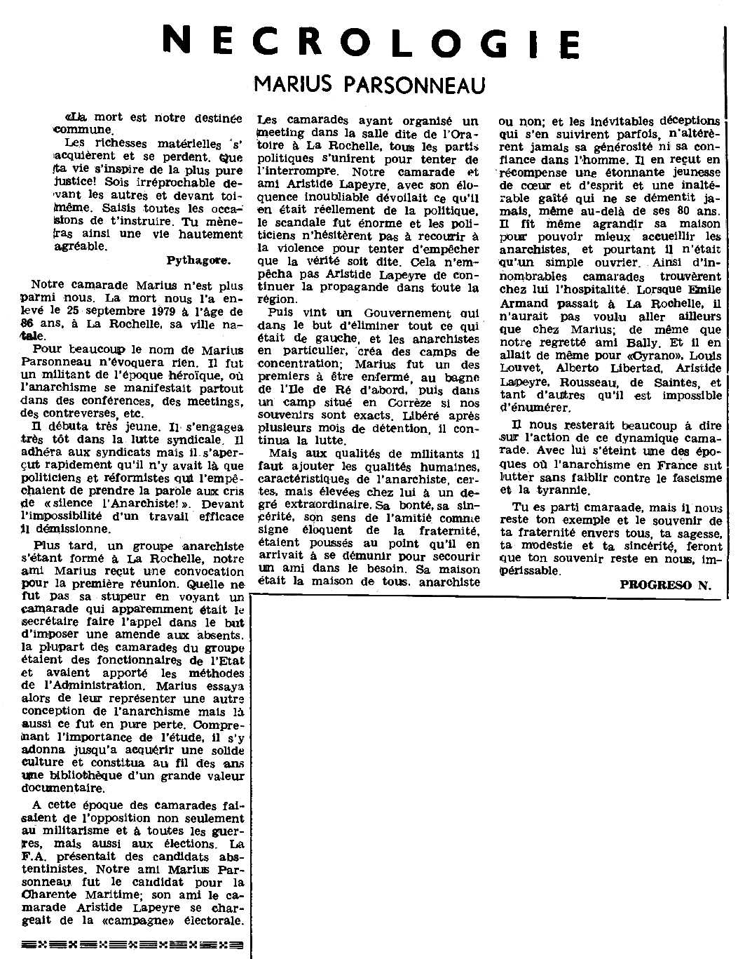 """Necrològica de Marius Parsonneau apareguda en el periòdic parisenc """"Le Combat Syndicaliste"""" del 21 de febrer de 1980"""