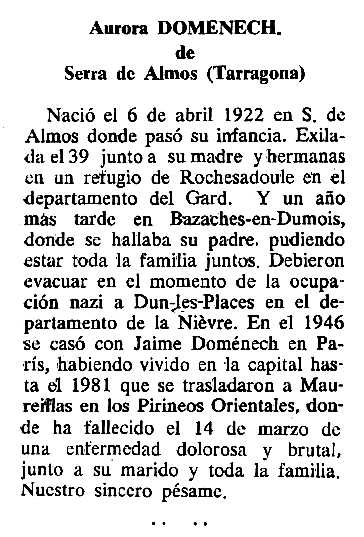 "Necrològia d'Aurora Pascual Pujol apareguda en el periòdic tolosà ""Cenit"" del 27 de juny de 1989"