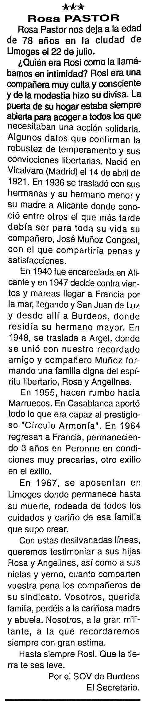 "Necrològica de Rosa Pastor apareguda en el periòdic tolosà ""Cenit"" del 28 de setembre de 1999"