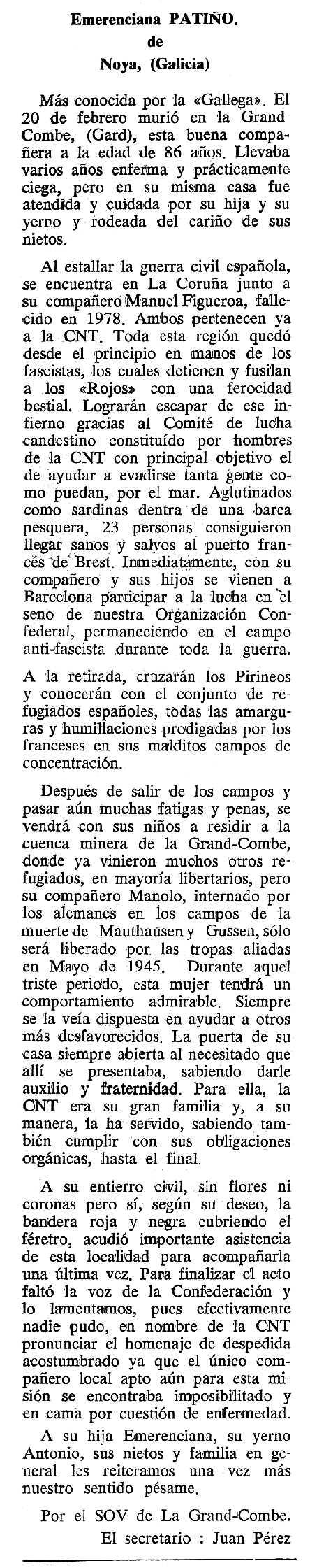 """Necrològica d'Emerenciana Patiño Hermida publicada en el periòdic tolosà """"Cenit"""" del 2 de maig de 1989"""