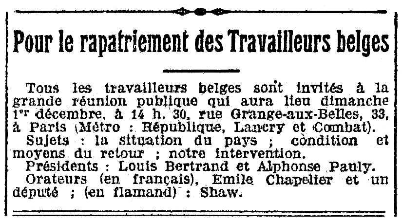 """Notícia sobre la reunió pública d'Alphonse Pauly publicada en el periòdic parisenc """"L'Humanité"""" del 29 de novembre de 1918"""