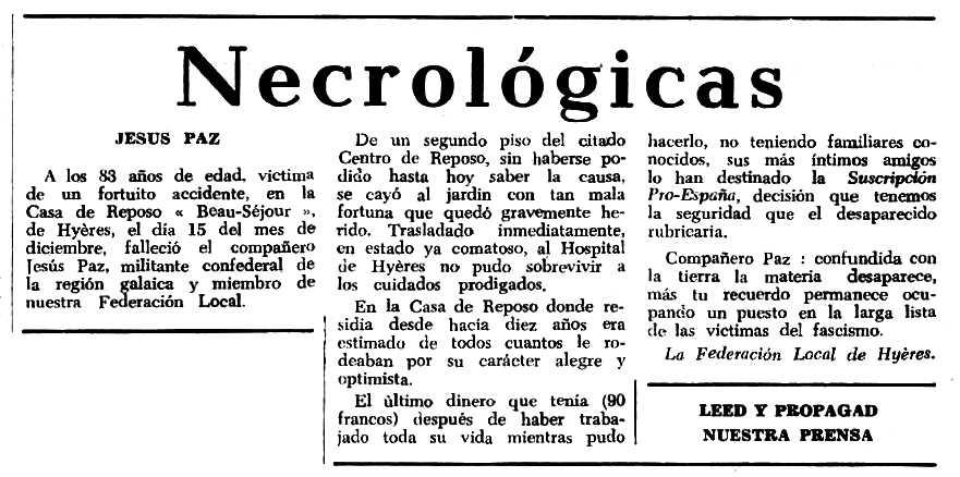 """Necrològica de Jesús Paz Viana apareguda en el periòdic tolosà """"Espoir"""" del 13 de març de 1966"""