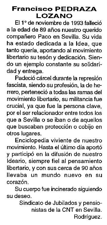 """Necrològica de Francisco Pedraza Lozano apareguda en el periòdic tolosà """"Cenit"""" del 14 de desembre de 1993"""