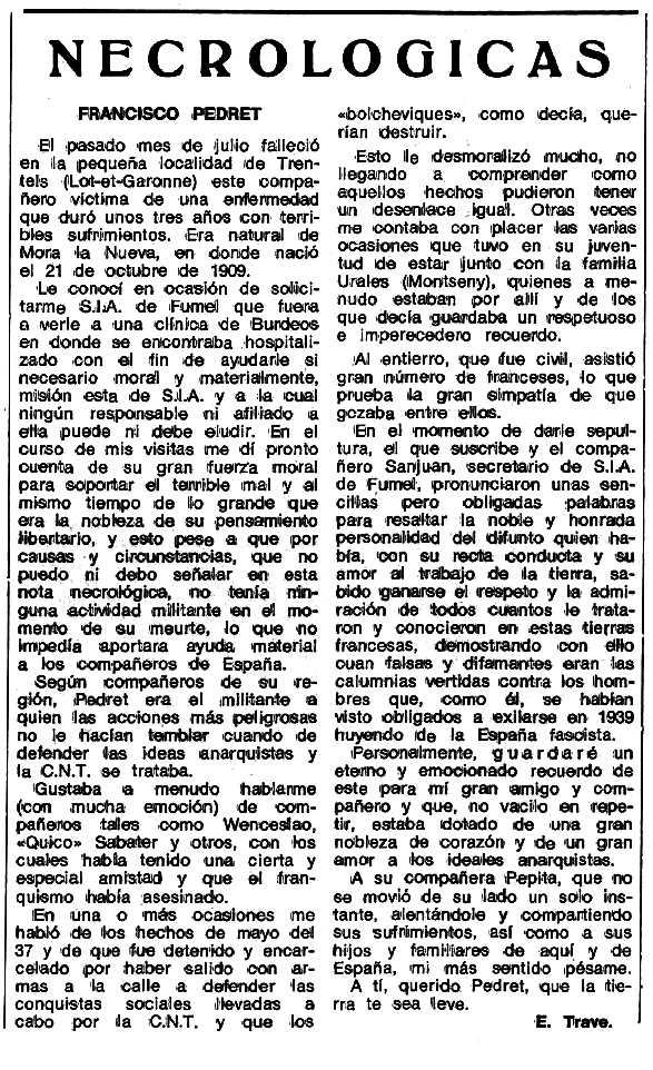 """Necrològica de Francesc Pedret Serrés apareguda en el periòdic tolosà """"Espoir"""" del 16 d'octubre de 1978"""