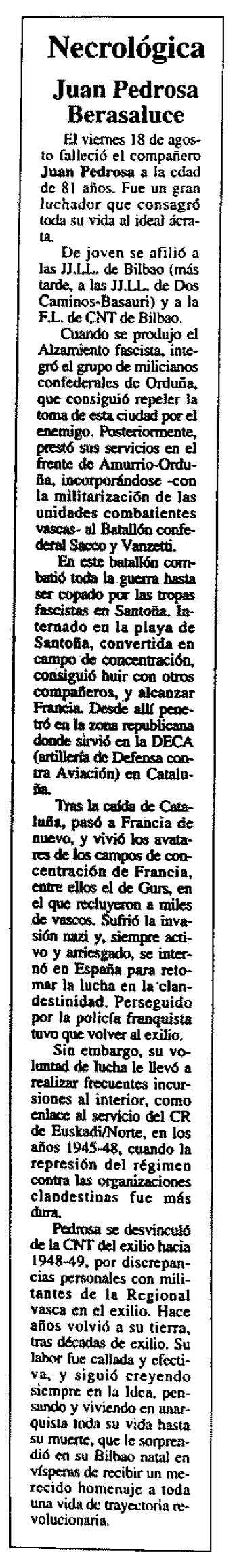 "Necrològica de Juan Pedrosa Berasaluce apareguda en el periòdic granadí ""CNT"" del setembre de 1995"