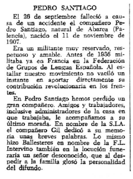 "Necrològica de Pedro Santiago apareguda en el periòdic tolosà ""CNT"" del 11 novembre de 1956"