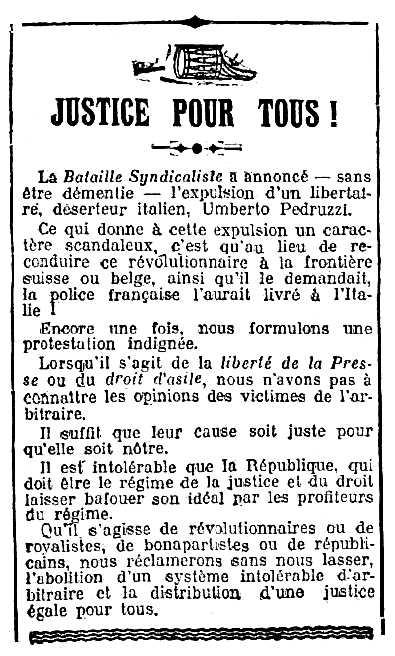 """Notícia sobre l'expulsió d'Umberto Pedruzzi apareguda en el diari parisenc """"Le Rappel"""" del 8 de desembre de 1912"""