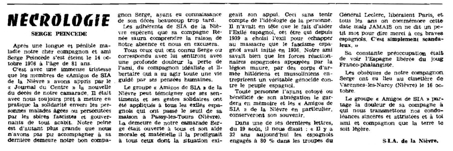"""Necrológica de Serge Peincedé aparecida en el periódico parisino """"Le Combat Syndicaliste"""" del 30 de diciembre de 1976"""