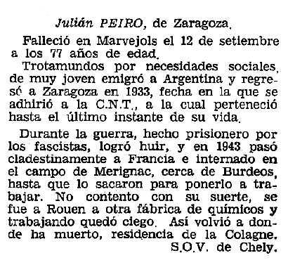"""Necrològica de Julián Peiró apareguda en el periòdic tolosà """"Cenit"""" del 31 de desembre de 1985"""