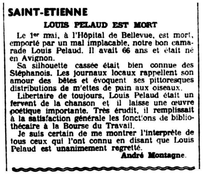 """Necrològica de Louis Pelaud apareguda en el periòdic parisenc """"Le Libertaire"""" del 8 de maig de 1936"""