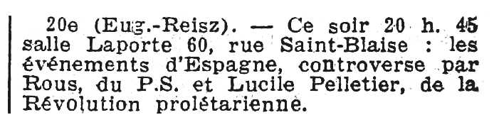"Notícia sobre Lucile Pelletier apareguda en el diari parisenc ""Le Populaire"" del 28 de novembre de 1934"