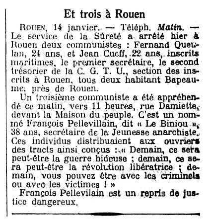 """Notícia sobre la detenció de François Pellevilain apareguda en el diari parisenc """"Le Matin"""" del 15 de gener de 1923"""