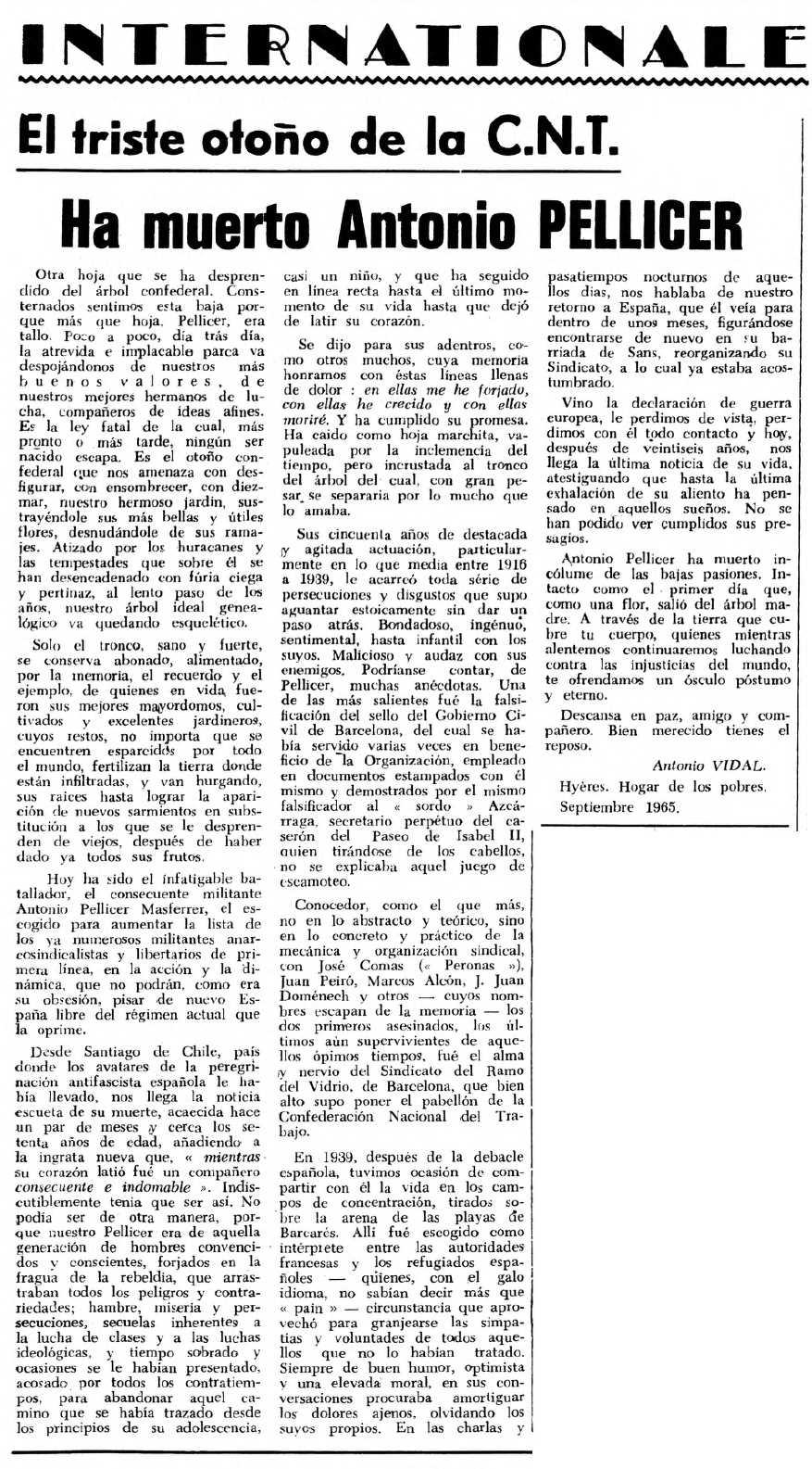"""Necrològica d'Antoni Francesc Pellicer Monferrer apareguda en el periòdic tolosà """"Espoir"""" del 3 d'octubre de 1965"""