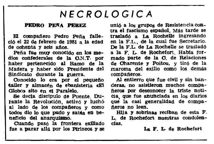 """Necrològica de Pedro Peña Pérez apareguda en el periòdic parisenc """"Le Combat Syndicaliste"""" del 21 de maig de 1981"""
