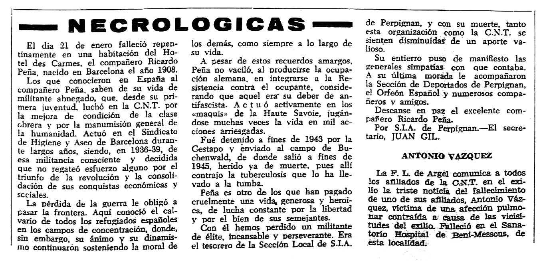 """Necrològica de Ricardo Peña Vallespín apareguda en el periòdic tolosà """"CNT"""" del 12 de febrer de 1956"""