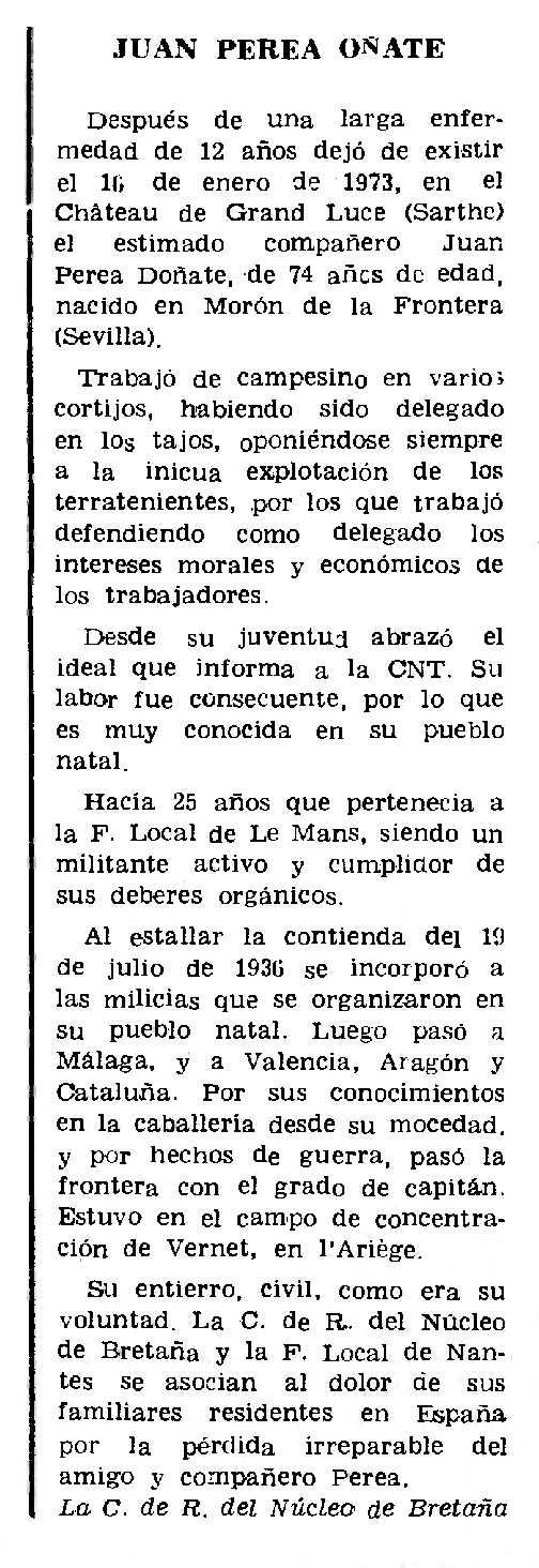"Necrològica de Juan Perea Doña apareguda en el periòdic parisenc ""Le Combat Syndicaliste"" del 5 de febrer de 1973"