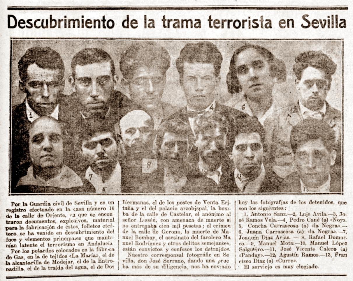 La detención de Pedro Cané Barceló y sus compañeros según el diario madrileño «La Acción» (7 de febrero de 1921)