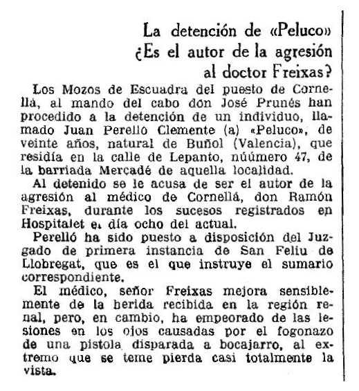 """Notícia de la detenció de Joan Perelló Clemente apareguda en el diari barceloní """"La Vanguardia"""" del 21 de desembre de 1933"""