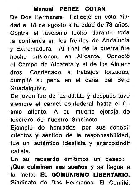"Necrològica de Manuel Pérez Cotán apareguda en el periòdic tolosà ""Cenit"" del 4 de novembre de 1986"