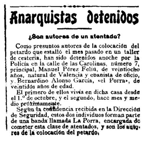 "Notícia de la detenció de Manuel Pérez Feliu apareguda en el diari madrileny ""El Globo"" del 5 de maig de 1921"