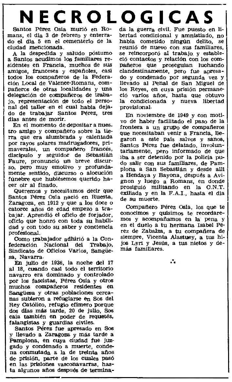 """Necrològica de Santos Pérez Osía apareguda en el periòdic parisenc """"Le Combat Syndicaliste"""" del 14 d'abril de 1977"""