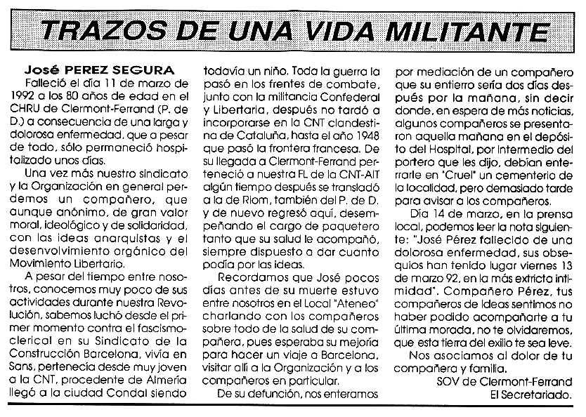 """Necrològica de José Pérez Segura apareguda en el periòdic tolosà """"Cenit"""" del 5 de maig de 1992"""