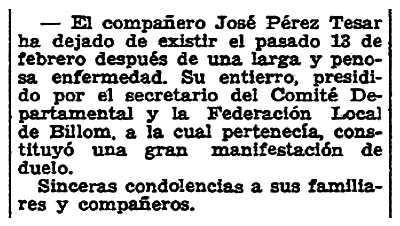 "Necrològica de José Pérez César apareguda en el periòdic parisenc ""Solidaridad Obrera"" del 8 de març de 1947"