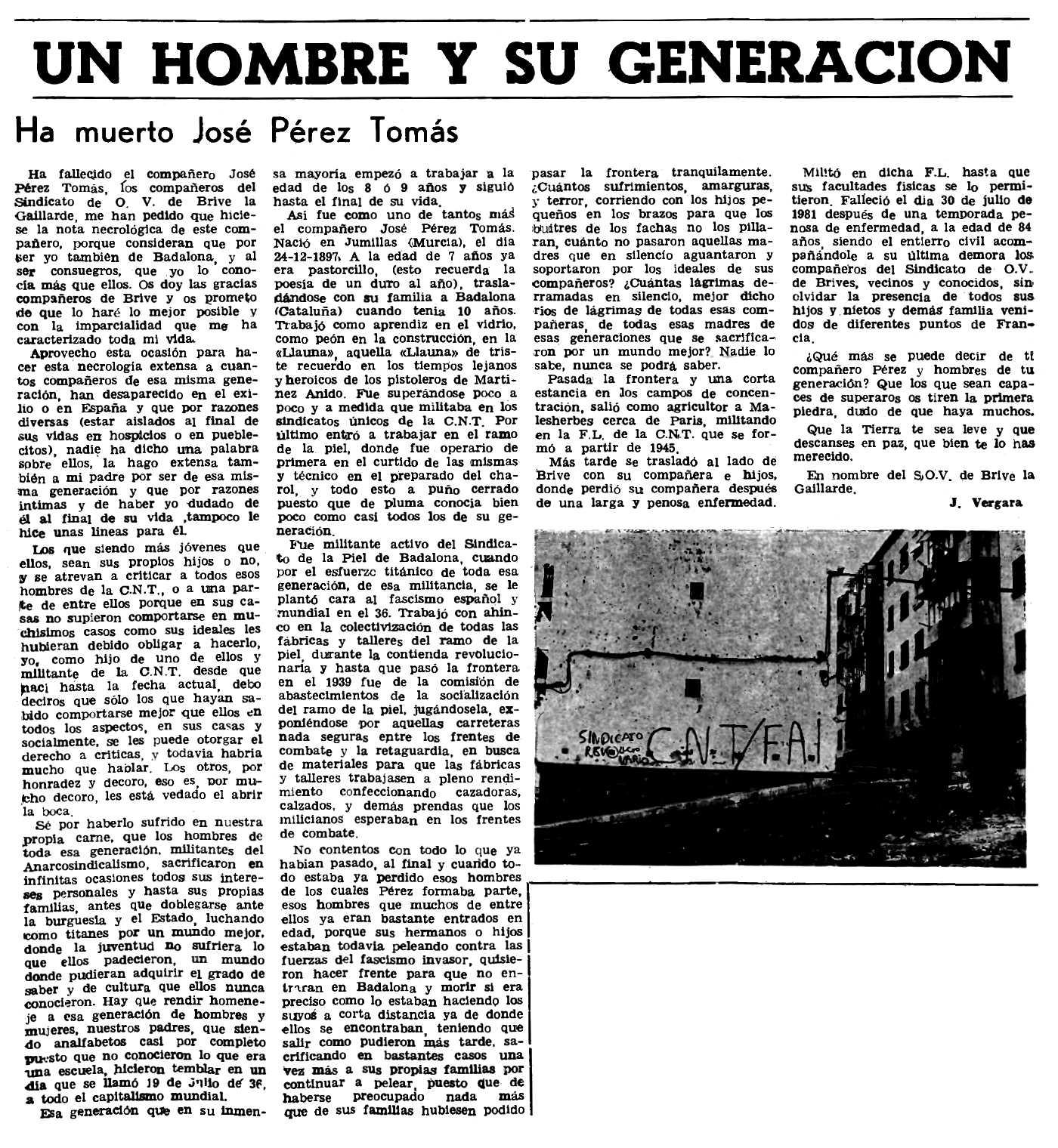 """Necrològica de José Pérez Tomás apareguda en el periòdic parisenc """"Le Combat Syndicaliste"""" del 24 de setembre de 1981"""