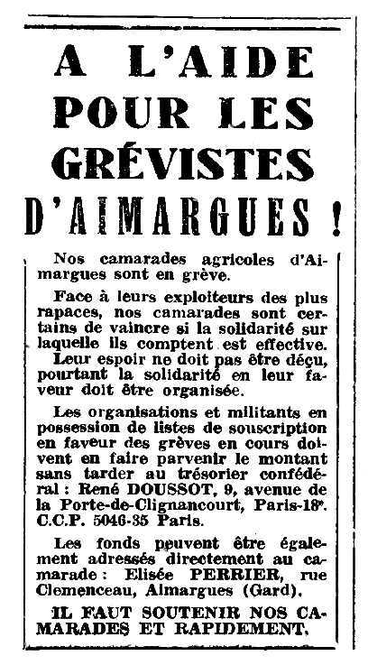 """Notícia d'Élisée Perrier apareguda en el periòdic parisenc """"Le Combat Syndicaliste"""" del 26 de maig de 1950"""