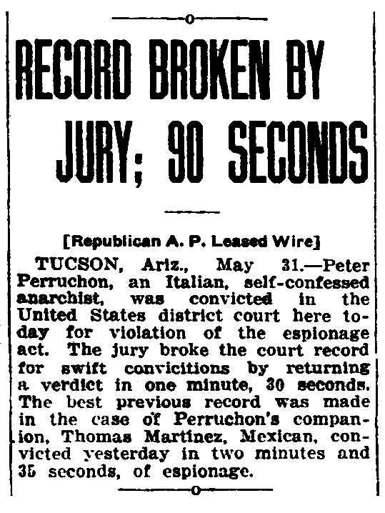 """Notícia del judic """"llampec"""" de Pietro Perruchon apareguda en el diari de Phoenix (Arizona, EUA) """"Arizona Republican"""" de l'1 de juny de 1918"""