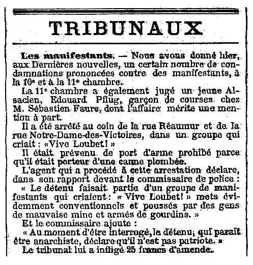 """Notícia de la condemna d'Edouard Pflug apareguda en el periòdic parisenc """"Le Temps"""" del 23 de febrer de 1899"""