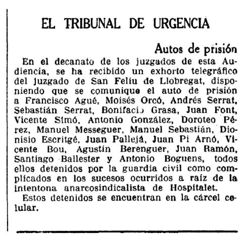 """Notícia de l'empresonament de Joan Pi Arnó apareguda en """"La Vanguardia"""" del 14 de desembre de 1933"""
