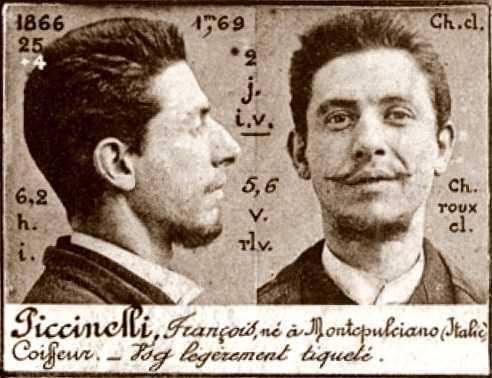 Foto policíaca de Franco Piccinelli (ca. 1894)